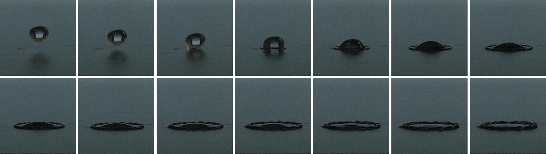 高速度撮影による現象の可視化例 液滴の落下、衝突