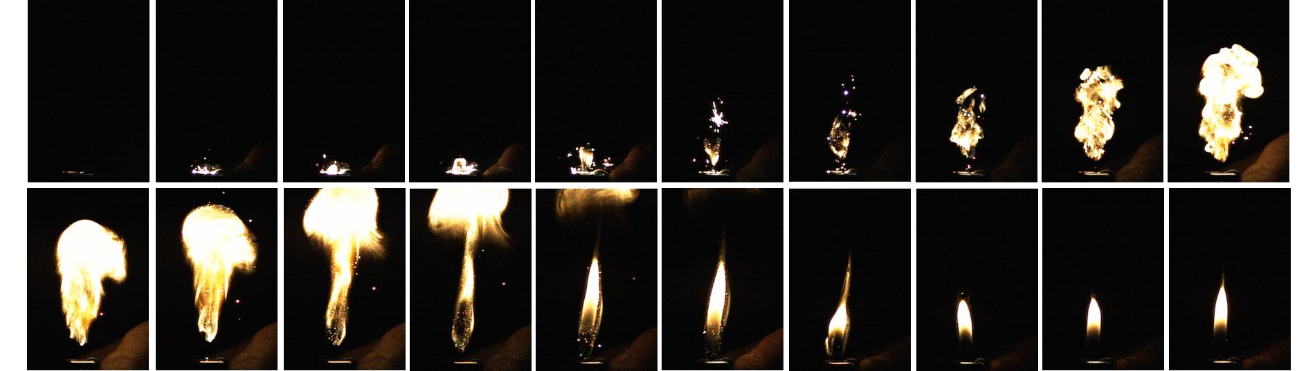 高速度撮影による現象の可視化例 ライターの着火